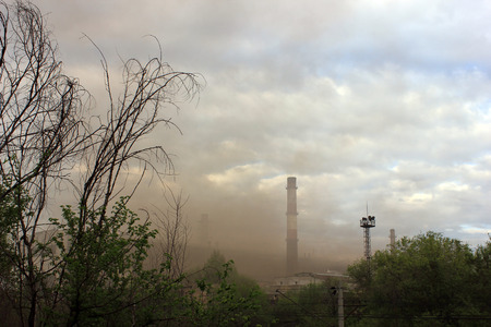 steel works: Emissions and smoke at steel works in the city Volgograd