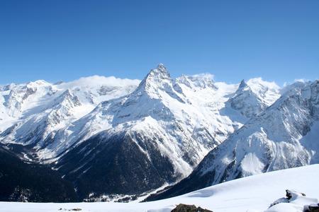 dombai: In the mountains of Dombai Caucasus Stock Photo