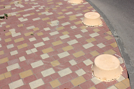 zones: Paving slabs of various forms flowers and the sizes for decoration of pedestrian zones