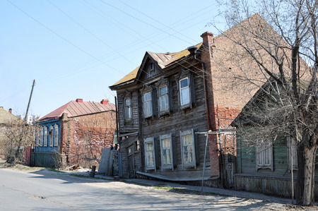rickety: Old wooden rickety house in the city of Astrakhan Stock Photo