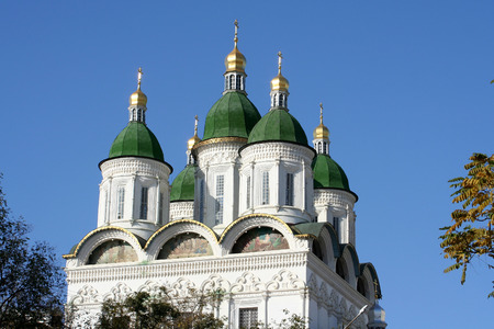 openly: Fragment of an orthodox cathedral in the Kremlin in the city of Astrakhan