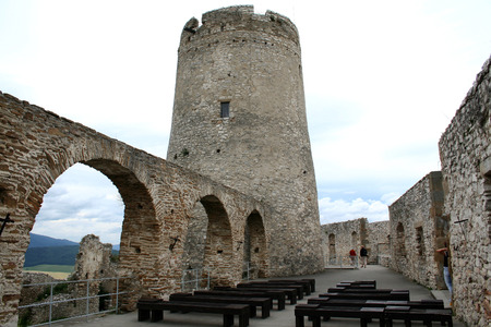 serf: Serf tower in an ancient knights castle in Slovakia