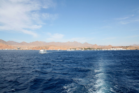 tour operator: Sea landscape in the Red Sea against small mountains of the Sinai Peninsula