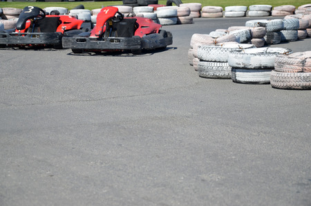 validity: Painted tires as chippers, on the autodrome for karting.