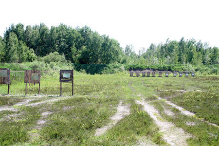 sniper training: Shooting range with targets on proving ground in Belarus
