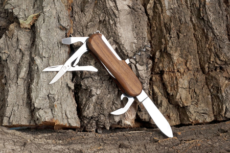 friendliness: Folding multipurpose knife with the wooden handle