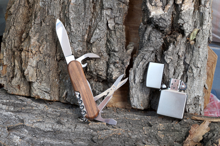 multipurpose: Folding multipurpose knife with the wooden handle