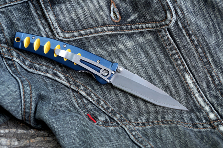 Penknife with a blade from Damask steel with the clip