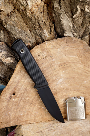 chrome molybdenum: Knife hunting tourist with a black blade Stock Photo
