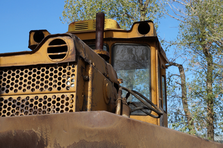 volumes: Old big bulldozer for cleaning of large volumes of soil