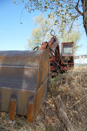volumes: Old excavator for cleaning of large volumes of soil Stock Photo