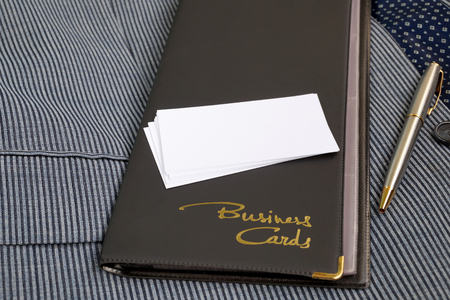 business matter: Case for business cards from a leather substitute and blank business cards