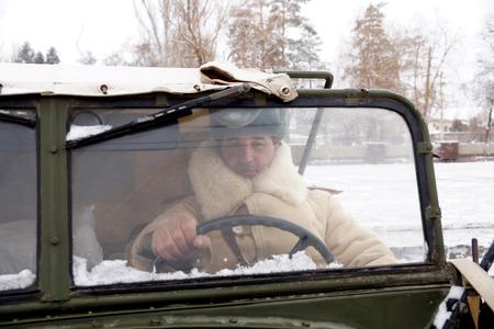 firmeza: Oficial, el defensor de Stalingrado en uniforme de invierno, la reconstrucci�n