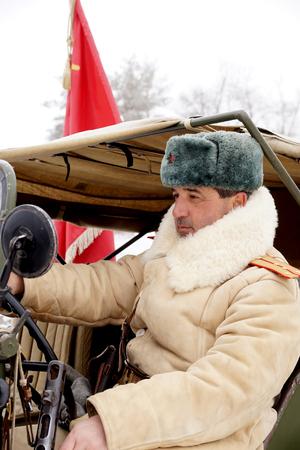 firmness: Officer, the defender of Stalingrad in winter regimentals, reconstruction Stock Photo