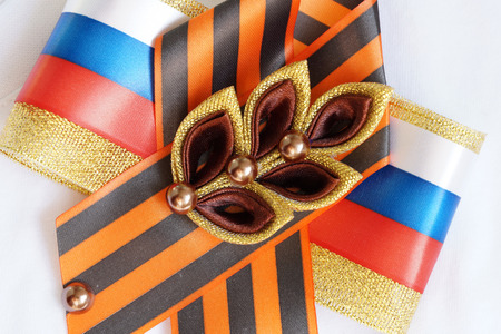 bead embroidery: Festive brooch with a St.Georges Ribbon on a Victory Day Stock Photo