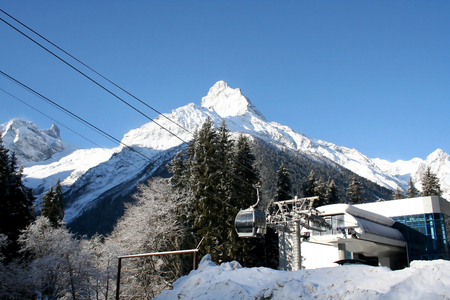 dombai: Elevator in the mountains of Dombai, Caucasus