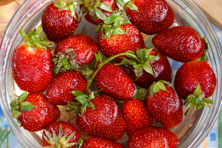 capacity: Fresh crop of strawberry from the Russian giving in capacity with water Stock Photo