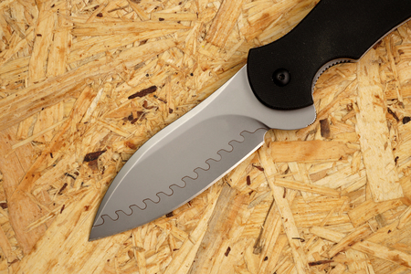 Penknife with a blade from Damask steel with original drawing Stock Photo