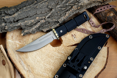 chrome molybdenum: Knife hunting tourist Japanese production with a blade from the titan Stock Photo