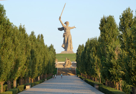feat: Sculpture, greatest in the world, Motherland on Mamayev Kurgan in the city of Volgograd Stock Photo