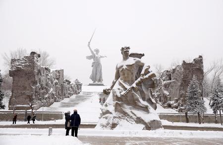 volgograd: Memorial complex Mamayev Kurgan in the hero-town of Volgograd in winter time under snow Stock Photo