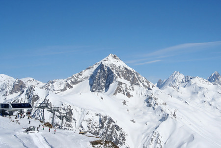 Top station in the mountains of Dombai, Caucasus Stock Photo