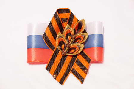Festive brooch with a St.Georges Ribbon on a Victory Day Stock Photo