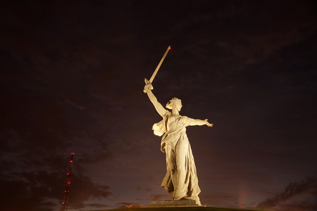 head stones: Sculpture, greatest in the world, Motherland on Mamayev Kurgan in the city of Volgograd Stock Photo