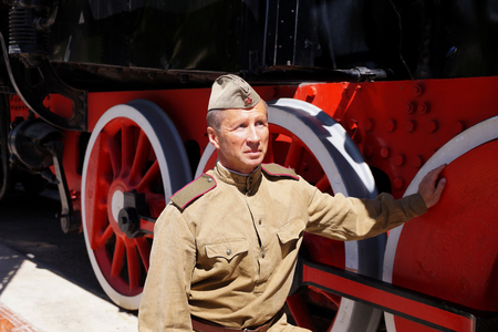 garrison: Fighter of Red Army in the form of times of World War II at the old engine
