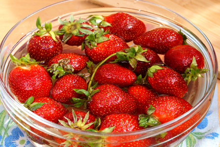 Fresh crop of strawberry from the Russian giving in capacity with water Stock Photo