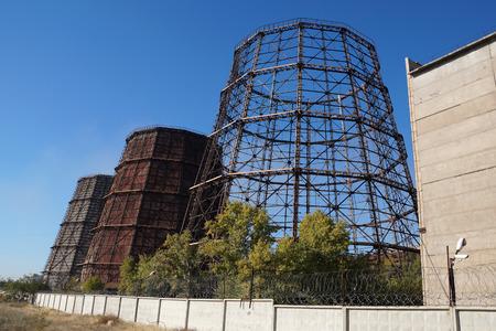Industrial coolers in the territory of steel works in Volgograd