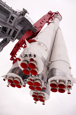 Natural space rocket Vostok  on a pedestal in park in Moscow Reklamní fotografie
