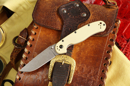 small butt: Penknife for the hidden carrying, as a collecting subject Stock Photo