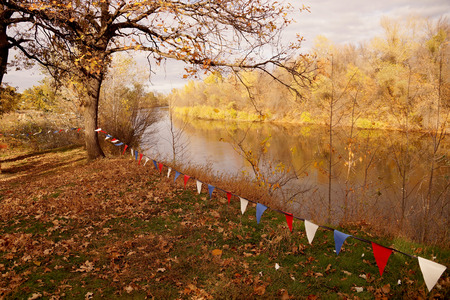 Autumn etude on the bank of a small reservoir