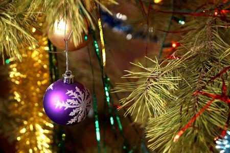 Fir-tree toy a plastic sphere with the drawn snowflake 版權商用圖片
