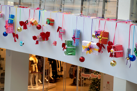 Christmas decoration of shopping center models of gifts and souvenirs
