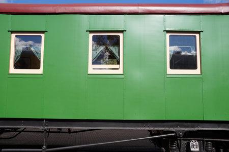 Old passenger railway car in the Museum of steam locomotives in Brest, Belarus