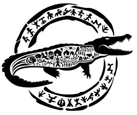 caiman: tribal crocodile, alligator, caiman, illustration, tattoo stamp
