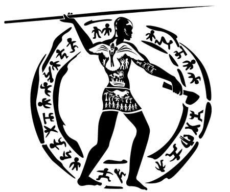 pintura rupestre: Hombre africano tribal, ilustración cazador, sello tatuaje Vectores