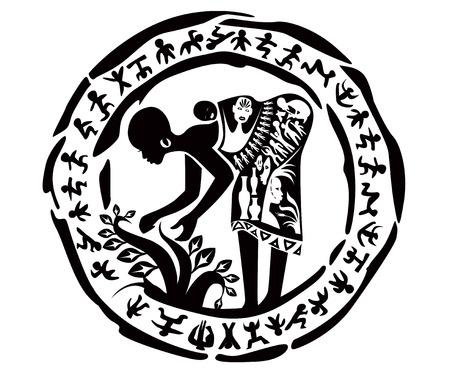 pintura rupestre: tribal africano mujer, ejemplo, sello tatuaje Vectores