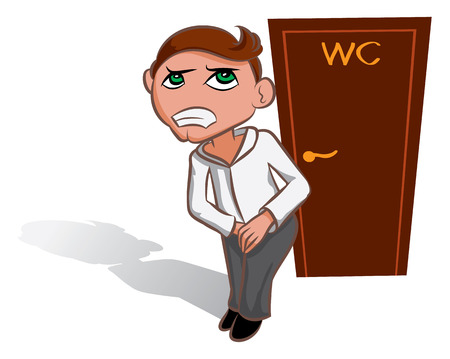 wc: White man waiting near WC, toilet sign