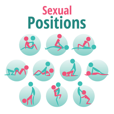 romance sex: Infographics template - sexual positions, kama sutra Illustration