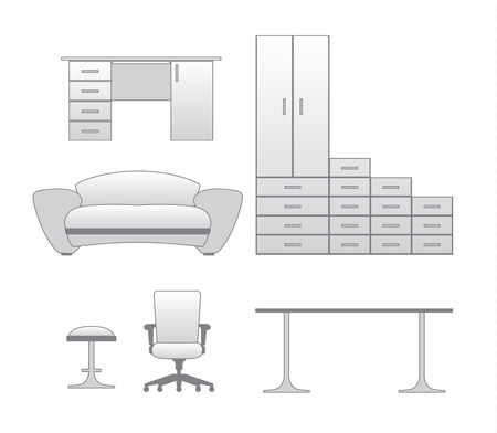 greyscale: Furniture  set with cupboard, stool, couch, table and chair, greyscale