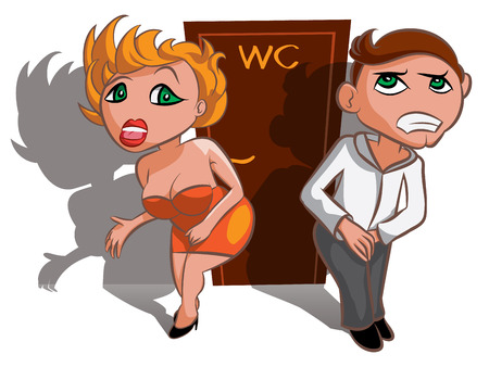 groin: White man and woman waiting near WC, toilet sign