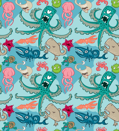 Seamless pattern with underwater monsters, background textures Vector