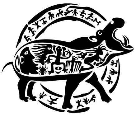 behemoth: tribal hippo, illustration, tattoo stamp