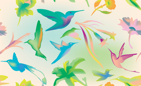 humming: Colibri and flowers seamless, humming bird texture background, bright and colorful