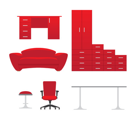red couch: Furniture set with cupboard, stool, couch, table and chair, red