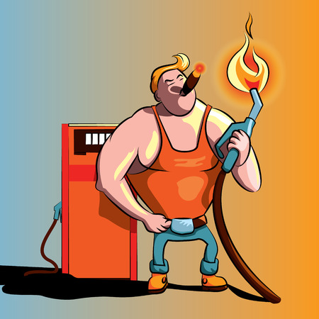 Refueling worker illustration, smoking a cigar on the gas station Vector