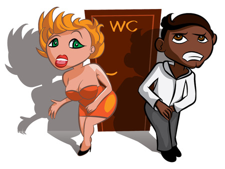 uncomfortable: White and black man and woman waiting near WC, toilet sign Illustration